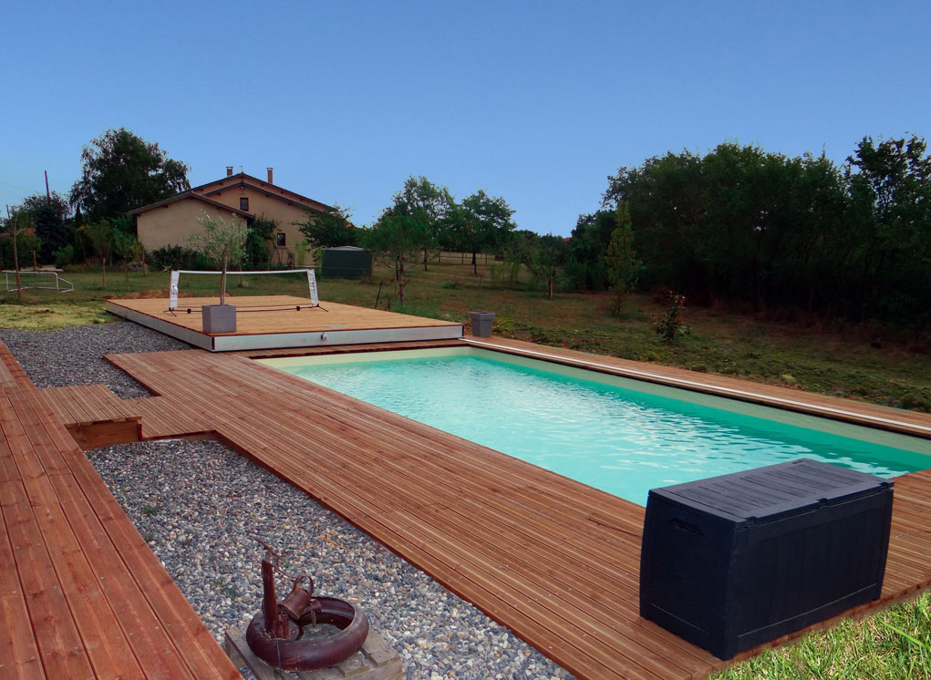 Terrasse mobile pour piscine hidden pool hidden pool for Piscine couverture mobile