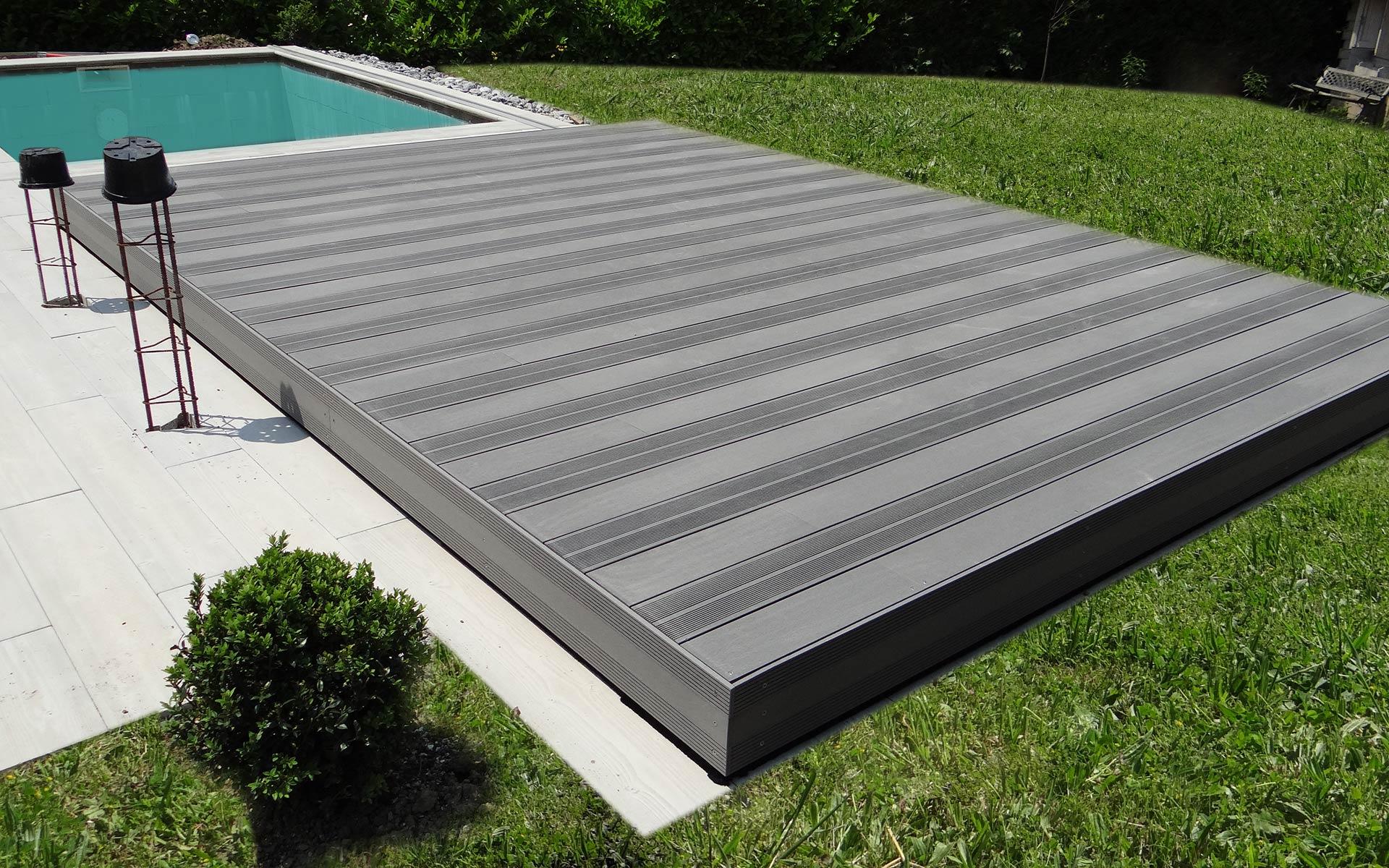 Terrasse mobile pour piscine hidden pool hidden pool for Couverture de piscine rigide