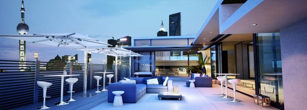 La piscine sous la terrasse